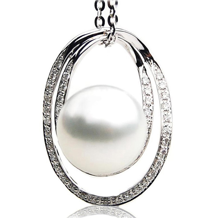 SP111 (AAA 14mm Australian South Sea pearl Pendant Diamonds  18k White Gold )