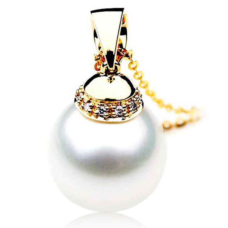 SP118 (AAA 15.5mm Australian South Sea pearl Pendant  Diamonds 18k Gold )