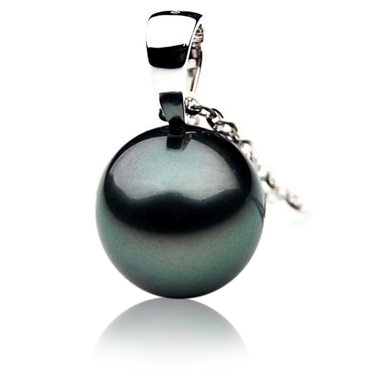 TP001 (AAA 11mm Tahitian Black pearl Pendant Pendant in 18k White Gold )