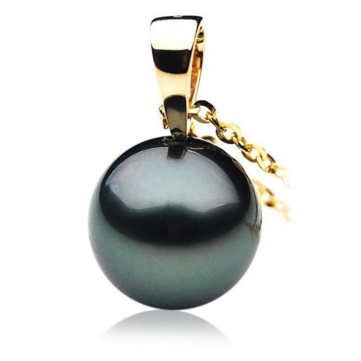 TP002 (AAA 11mm Tahitian Black pearl Pendant  in 18k Gold )