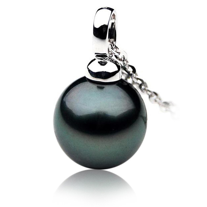 TP003 (AAA 11mm Tahitian Black pearl Pendant  in 18k White Gold )