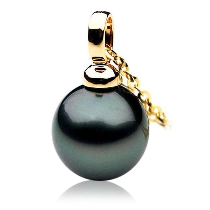 TP004 (AAA 11mm Tahitian Black pearl Pendant in 18k Gold )