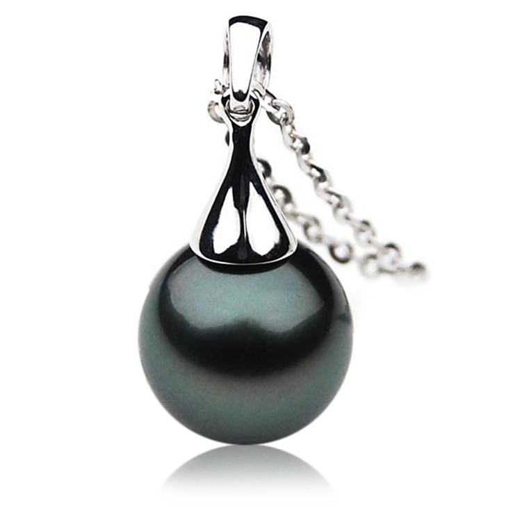 TP005 (AAA 11mm Tahitian Black pearl Pendant in 18k White Gold )