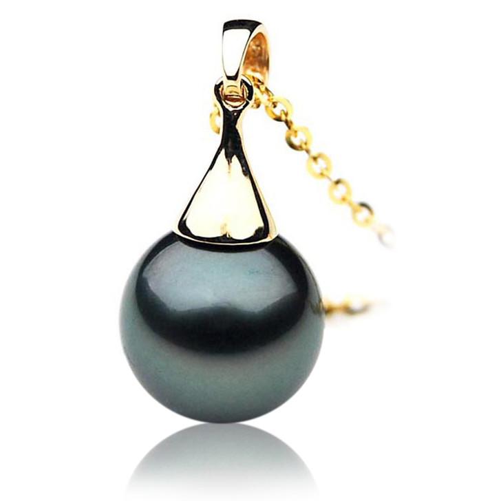 TP006 (AAA 11mm Tahitian Black pearl Pendant in 18k Yellow Gold )