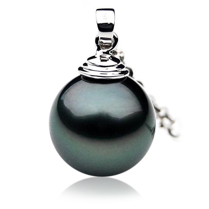 TP007 (AAA 11mm Tahitian Black pearl Pendant  in 18k White Gold )