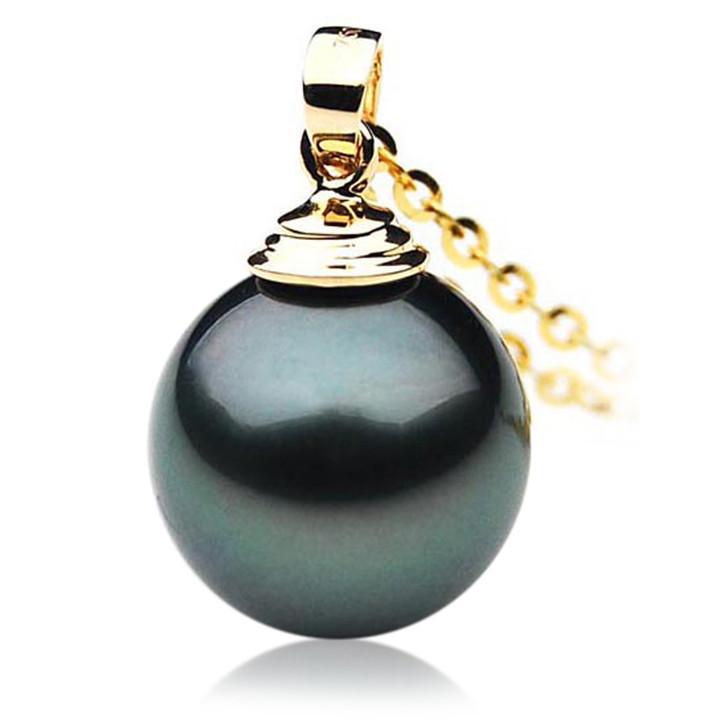 TP008 (AAA 11mm Tahitian Black pearl Pendant in 18k Gold )