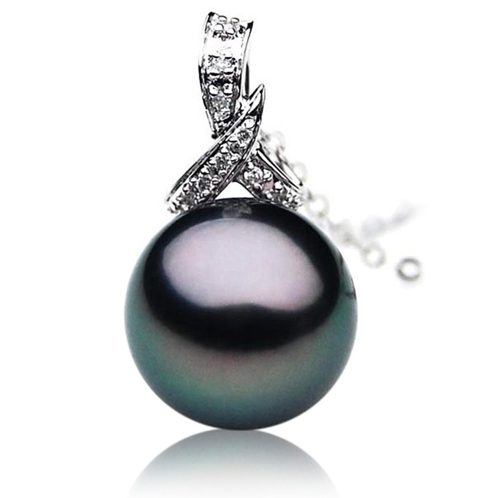 TP009 (AAA 11mm Tahitian Black pearl  Pendant  and Diamonds in 18k White Gold)