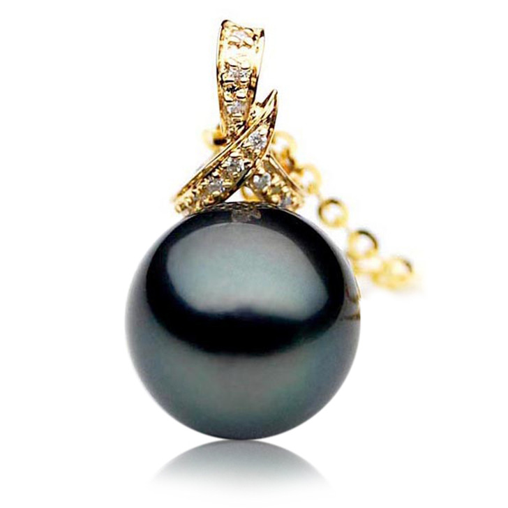 TP010 (AAA 11mm Tahitian Black pearl Pendant and Diamonds in 18k Gold)