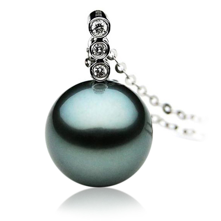TP011 (AAA 11mm Tahitian Black pearl Pendant  and Diamonds in 18k White Gold)