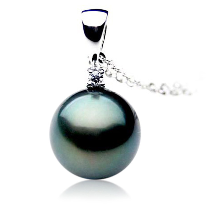 TP013 (AAA 11mm Tahitian Black pearl Pendant and Diamonds in 18k White Gold)