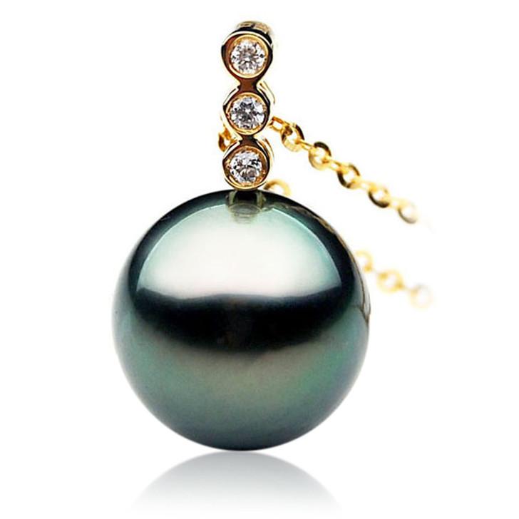 TP012 (AAA 11mm Tahitian Black pearl Pendant and Diamonds in 18k Gold)