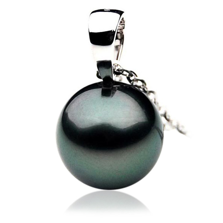 TP015 (AAA 12mm Tahitian Black pearl Pendant in 18k White Gold )