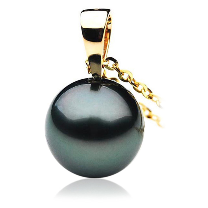 TP016 (AAA 12mm Tahitian Black pearl Pendant in 18k Gold )
