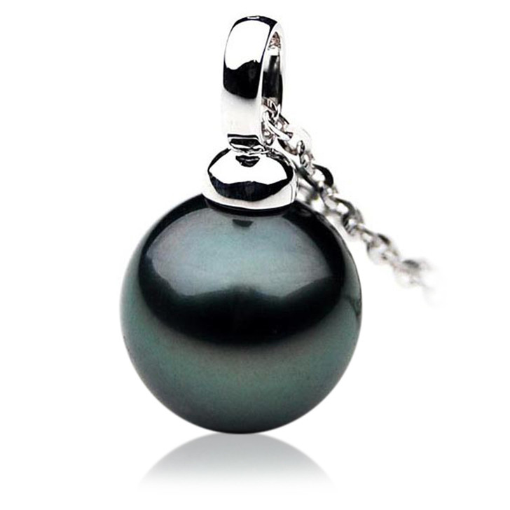 TP017 (AAA 12mm Tahitian Black pearl Pendant  in 18k White Gold )