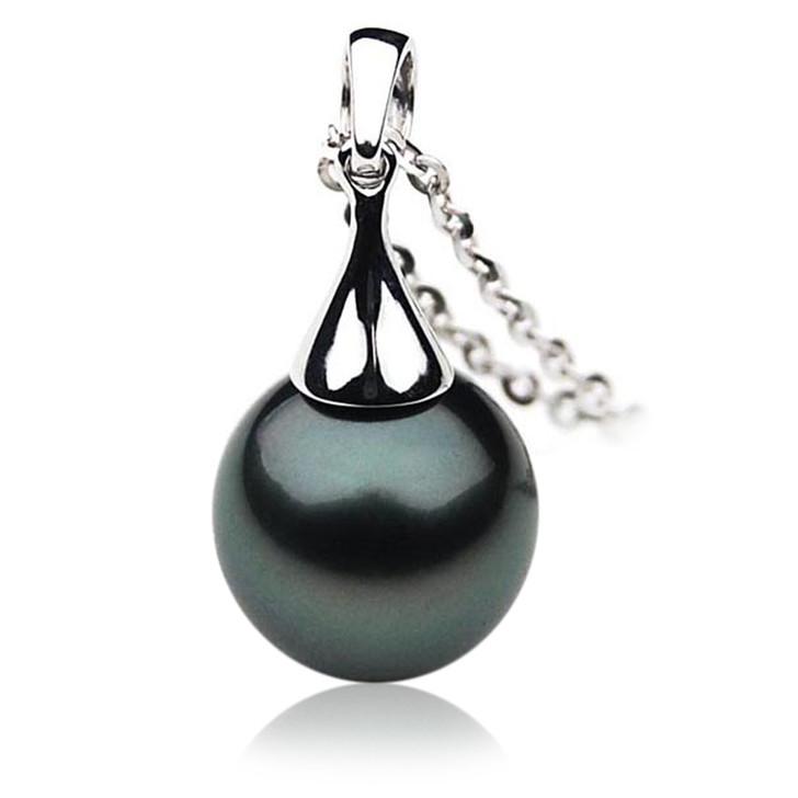 TP019 (AAA 12mm Tahitian Black pearl  Pendant in 18k White Gold )