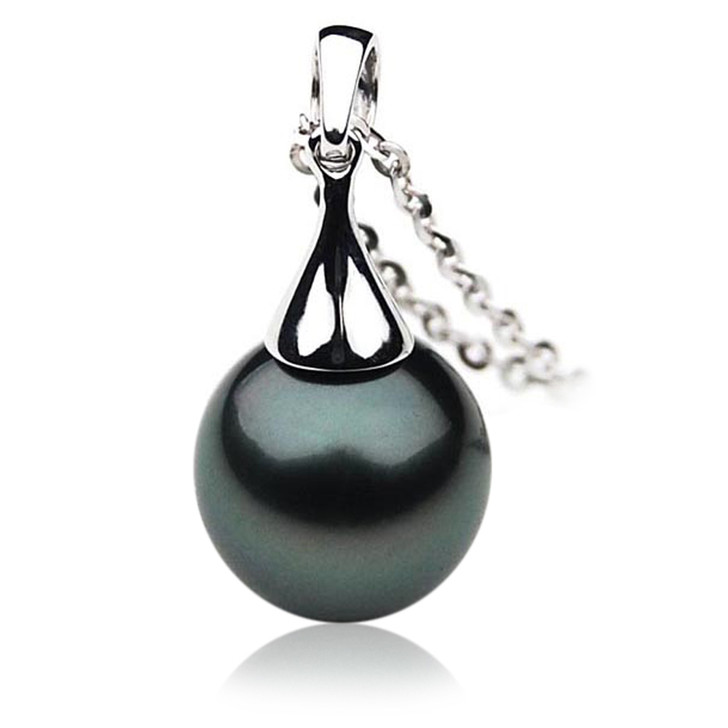 TP019 (AAA 12mm Tahitian Black pearl  Pendant in 18k White Gold )