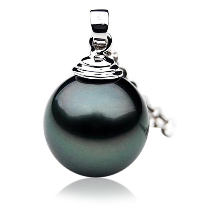 TP021 (AAA 12mm Tahitian Black pearl Pendant in 18k White Gold )