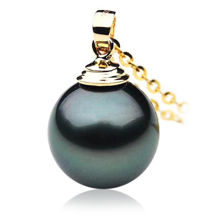 TP022 (AAA 12mm Tahitian Black pearl Pendant in 18k Gold )