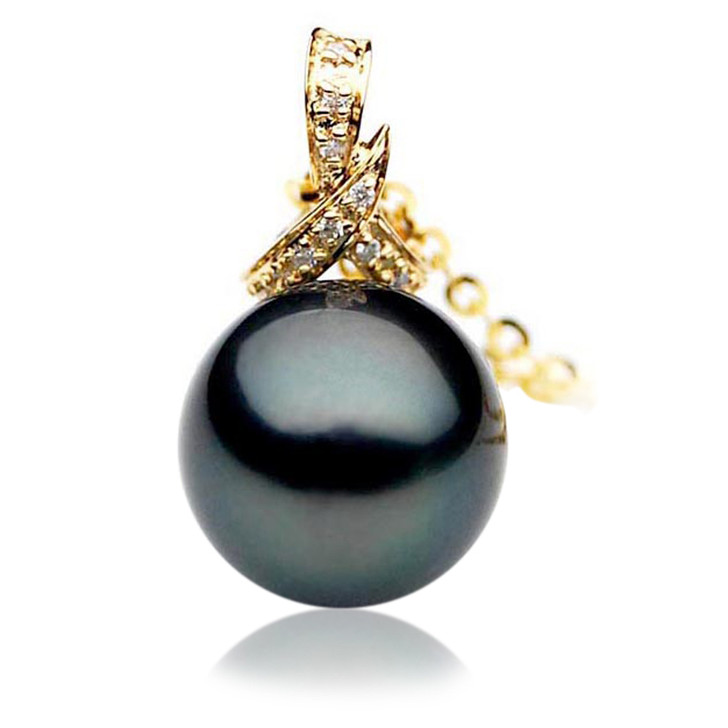 TP024 (AAA 12mm Tahitian Black pearl Pendant and Diamonds in 18k Gold)