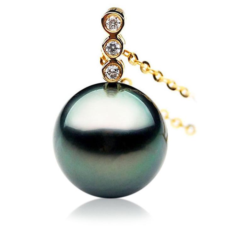 TP026 (AAA 12mm Tahitian Black pearl Pendant and Diamonds in 18k Gold)