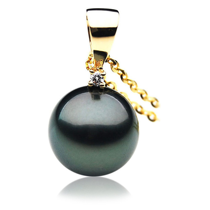 TP028 (AAA 12mm Tahitian Black pearl Pendant and Diamonds in 18k Gold)