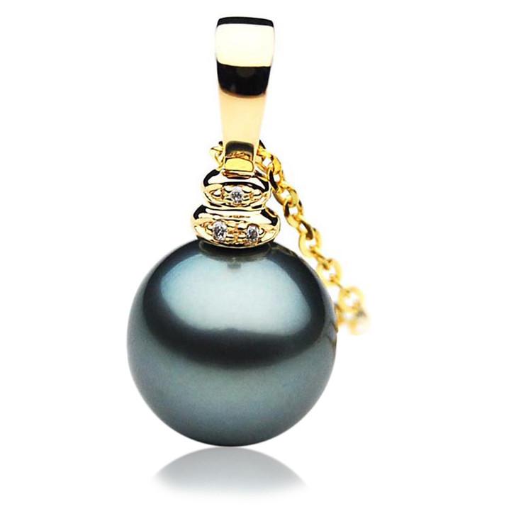 TP030 (AAA 12mm Tahitian Black pearl Pendant and Diamonds in 18k Gold)