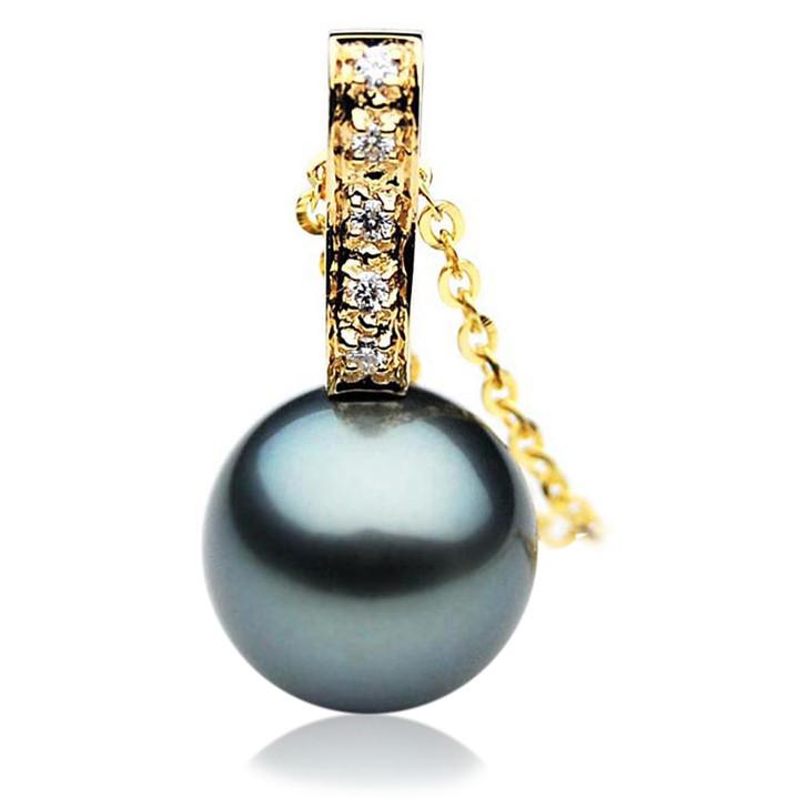 TP034 (AAA 12mm Tahitian Black pearl Pendant and Diamonds in 18k Gold)