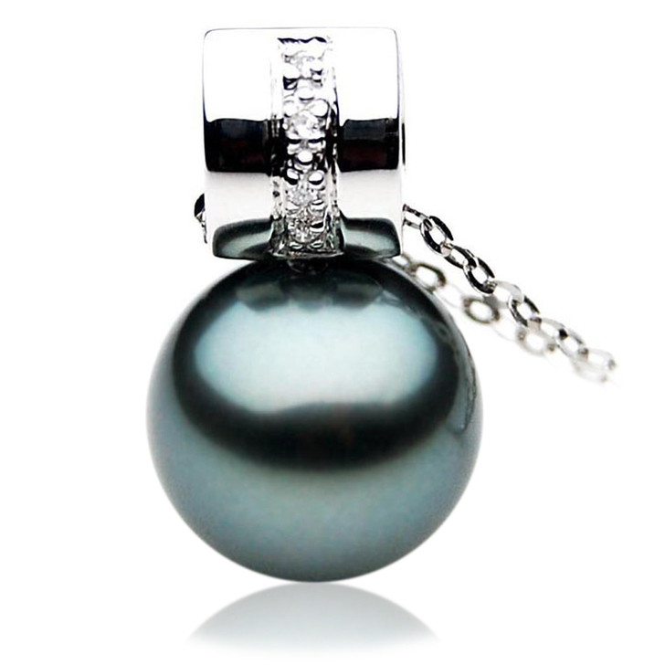TP037 (AAA 12mm Tahitian Black pearl Pendant and Diamonds in 18k White Gold)