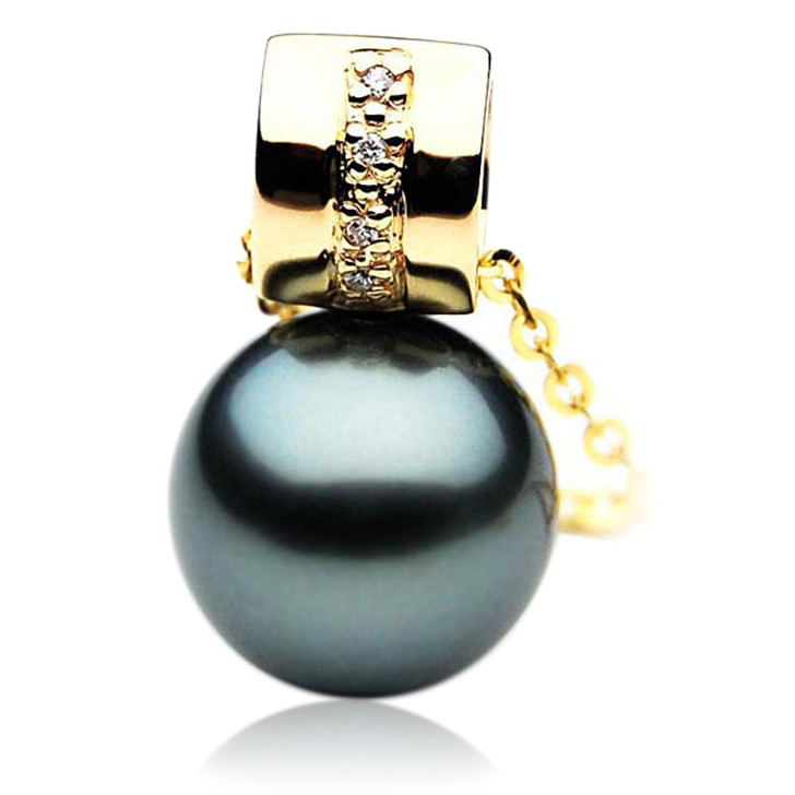 TP038 (AAA 12mm Tahitian Black pearl Pendant and Diamonds in 18k Gold)
