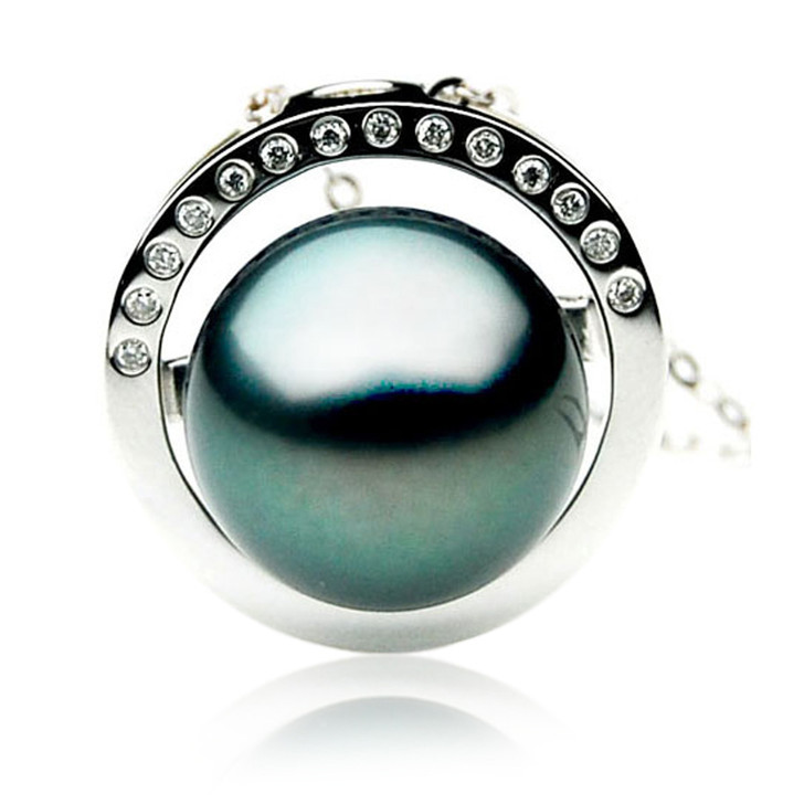 TP043 (AAA 12mm Tahitian Black pearl Pendant and Diamonds in 18k White Gold)