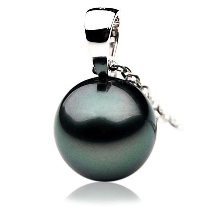 TP045 (AAA 13mm Tahitian Black pearl Pendant in 18k White Gold)