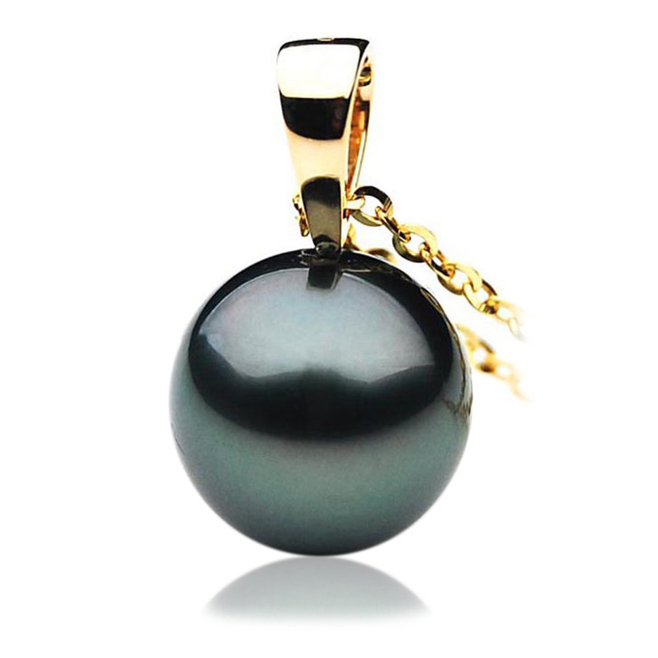 TP046 (AAA 13mm Tahitian Black pearl Pendant in 18k Gold)