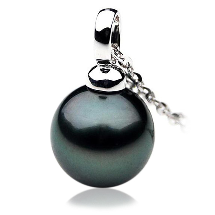 TP047 (AAA 13mm Tahitian Black pearl Pendant in 18k White Gold)