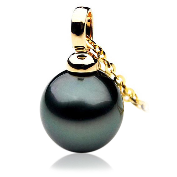 TP048 (AAA 13mm Tahitian Black pearl Pendant  in 18k Gold)