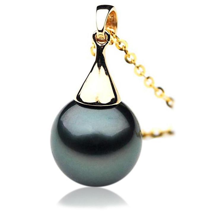 TP050 (AAA 13mm Tahitian Black pearl Pendant in 18k Yellow Gold)