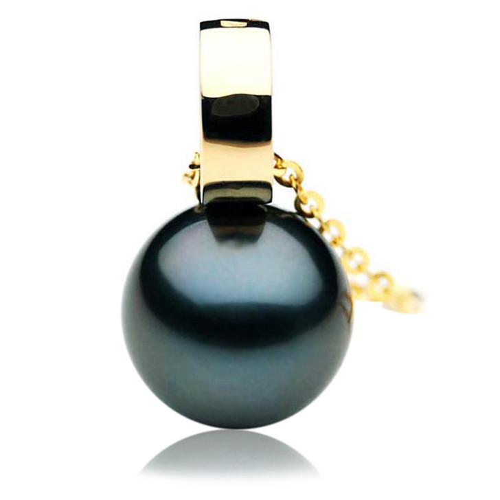 TP052 (AAA 13mm Tahitian Black pearl Pendant in 18k Gold)