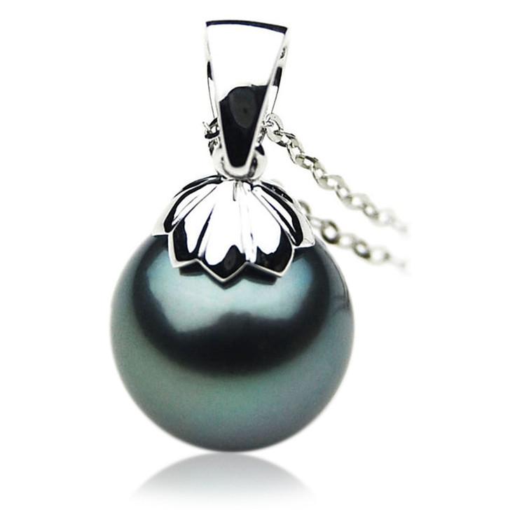 TP053 (AAA 13mm Tahitian Black pearl Pendant  in 18k White Gold)