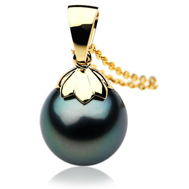 TP054 (AAA 13mm Tahitian Black pearl Pendant in 18k Gold)