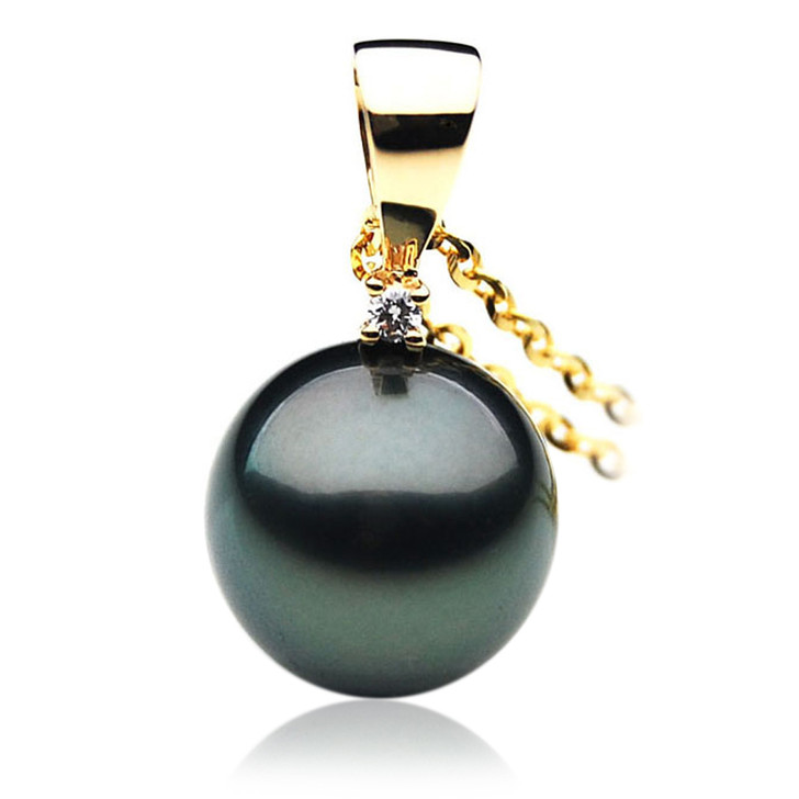 TP056 (AAA 13mm Tahitian Black pearl Pendant and Diamonds in 18k Gold)