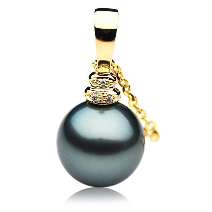 TP058 (AAA 13mm Tahitian Black pearl Pendant and Diamonds in 18k Gold)