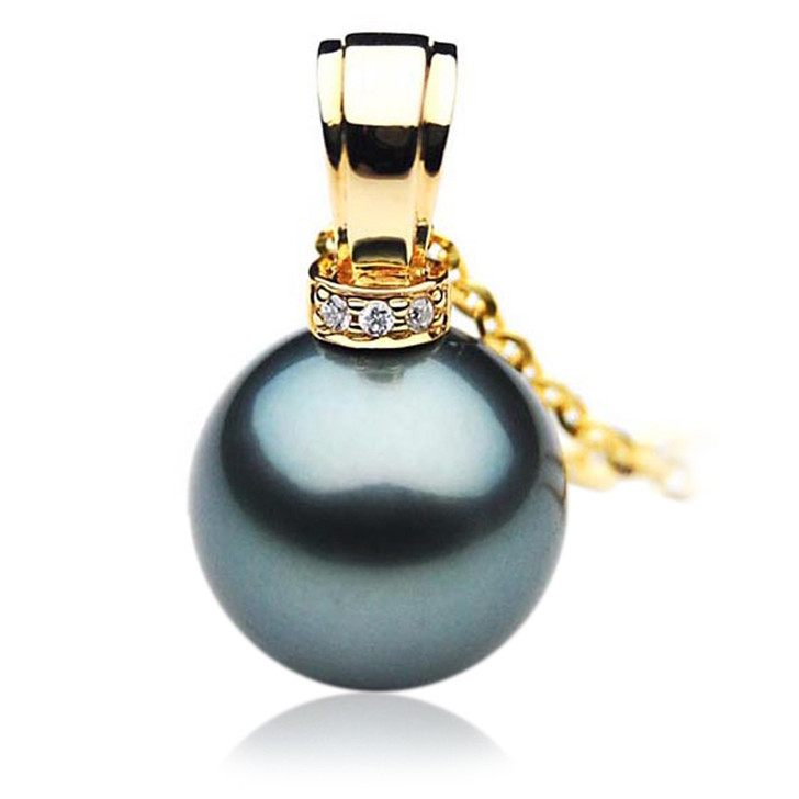 TP060 (AAA 13mm Tahitian Black pearl Pendant and Diamonds in 18k Gold)