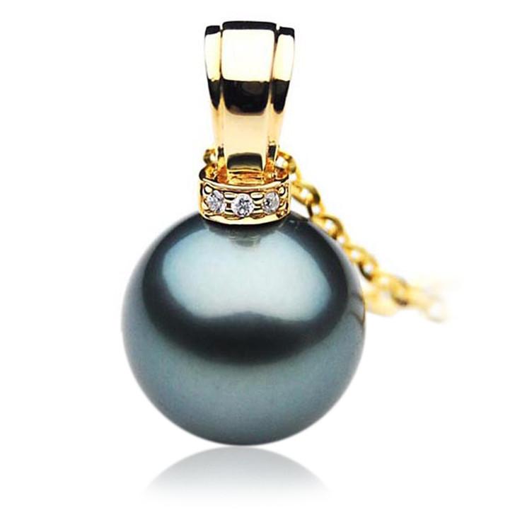 TP060 (AAA 13mm Tahitian Black pearl Pendant and Diamonds in 18k Gold)