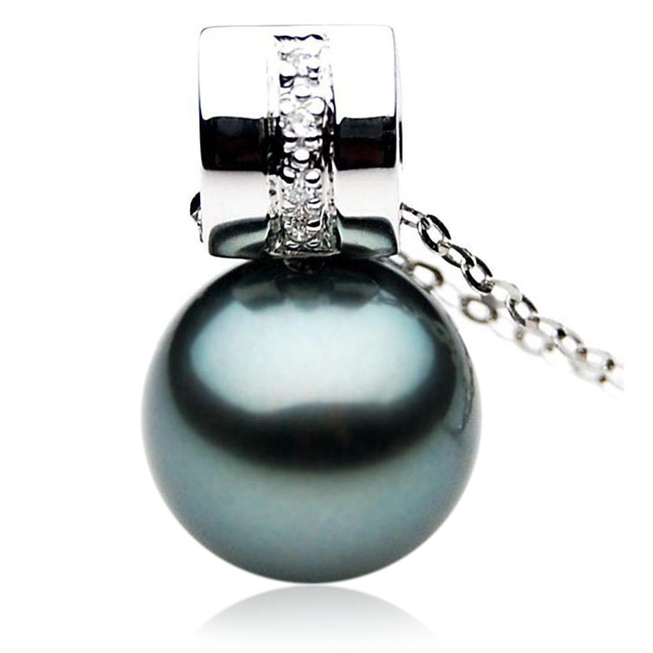 TP065 (AAA 13mm Tahitian Black pearl Pendant and Diamonds in 18k White Gold)