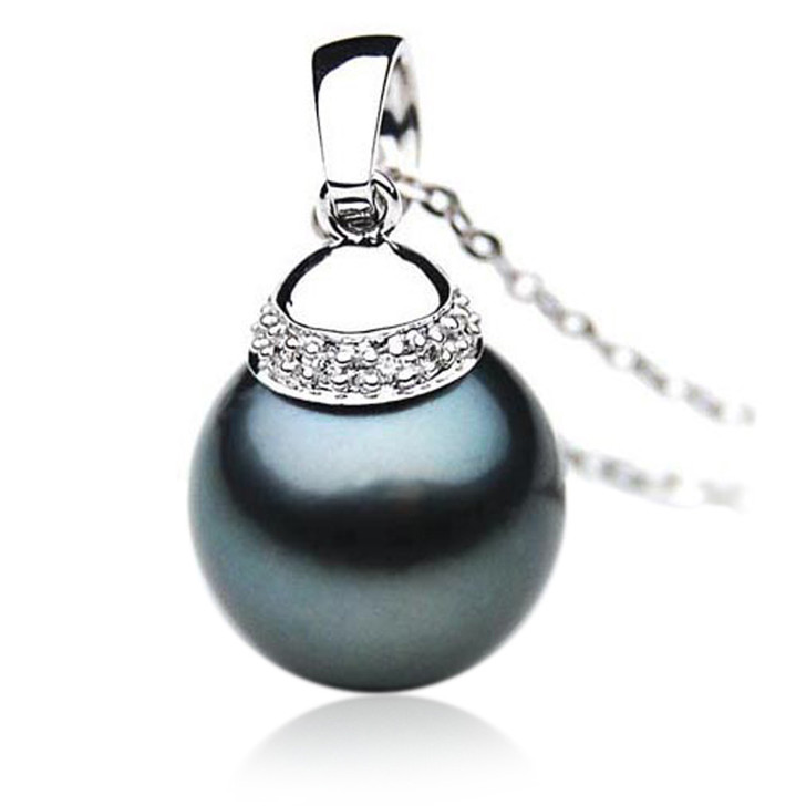 TP067 (AAA 13mm Tahitian Black pearl Pendant and Diamonds in 18k White Gold)