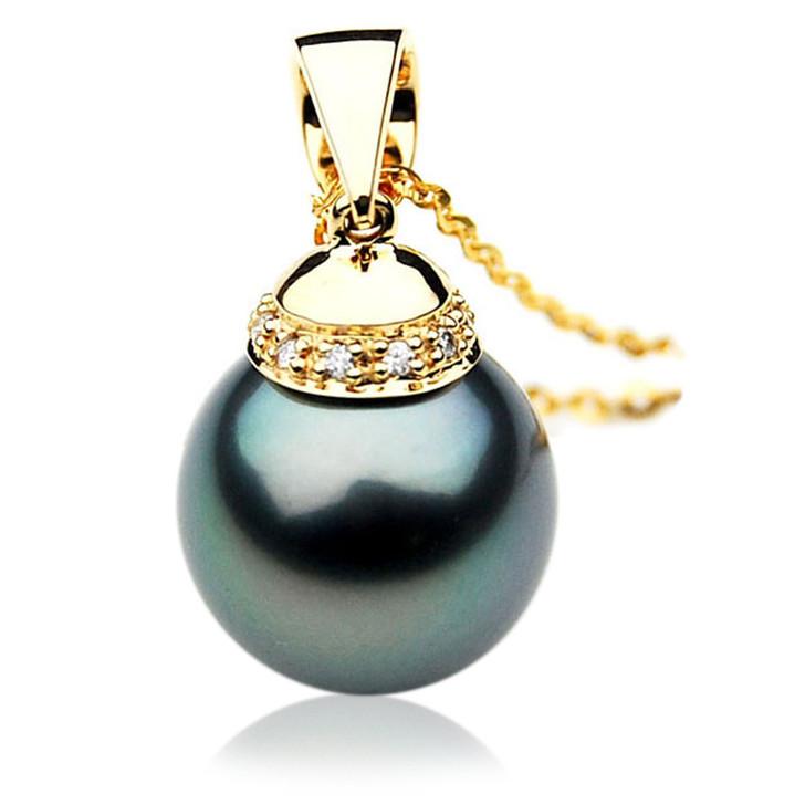 TP068 (AAA 13mm Tahitian Black pearl Pendant and Diamonds in 18k Gold)