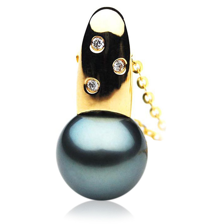 TP070 (AAA 13mm Tahitian Black pearl Pendant and Diamonds in 18k Gold)