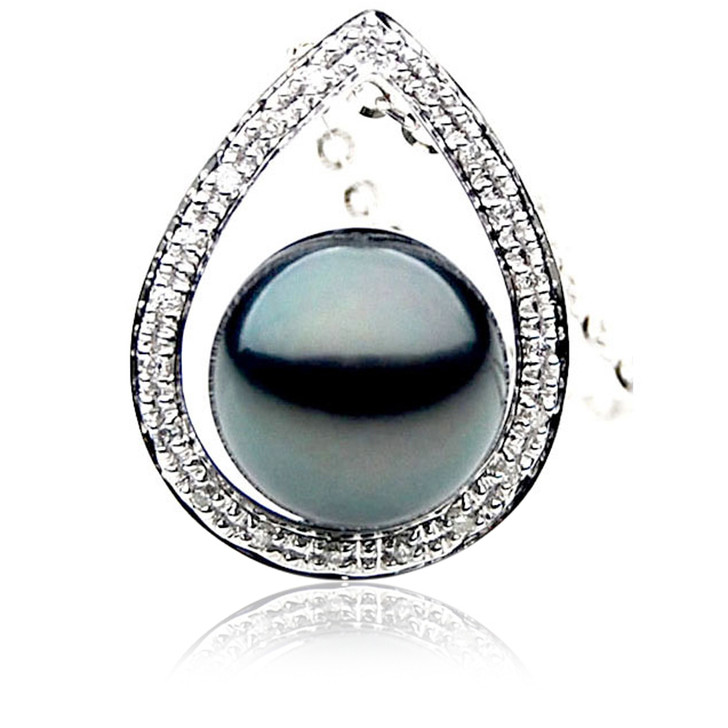 TP075 (AAA 13mm Tahitian Black pearl Pendant  and Diamonds in 18k White Gold)