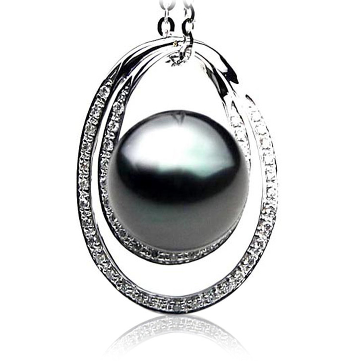 TP079 (AAA 13mm Tahitian Black pearl Pendant  and Diamonds in 18k White Gold)