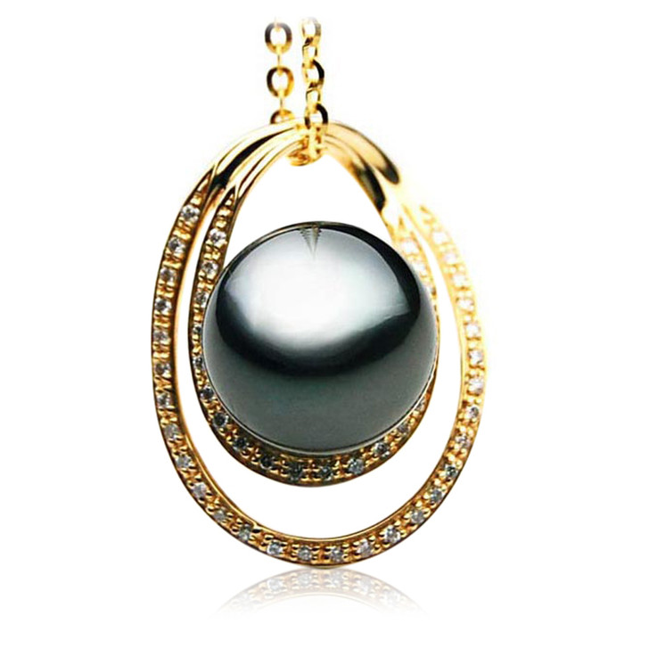 TP080 (AAA 13mm Tahitian Black pearl Pendant  and Diamonds in 18k Gold)