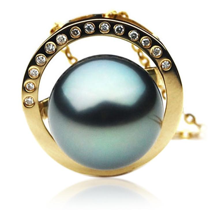 TP084 (AAA 13mm Tahitian Black pearl Pendant and Diamonds in 18k Gold)